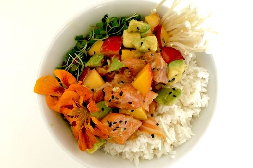 Salmon and Stone Fruit Poke