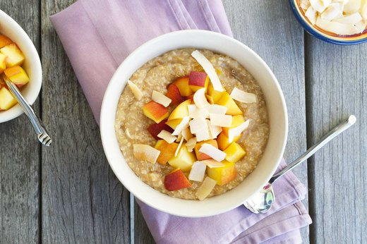 7. Peaches and Creamy Coconut Quinoa Oatmeal Bowl