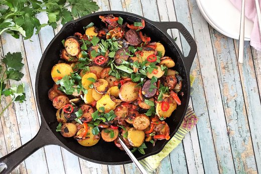2. Spicy Potato, Red Pepper and Chicken Sausage Skillet for Two