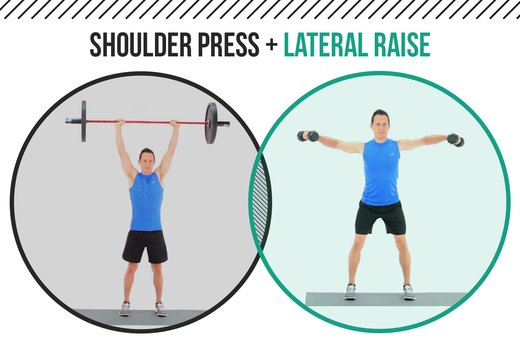 7. Barbell Shoulder Presses + Lateral Shoulder Raises