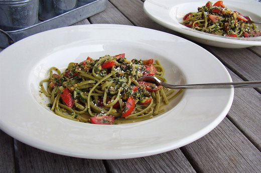 1. Garden Pesto Linguine (Leftover: Tossed Wilted Salad)