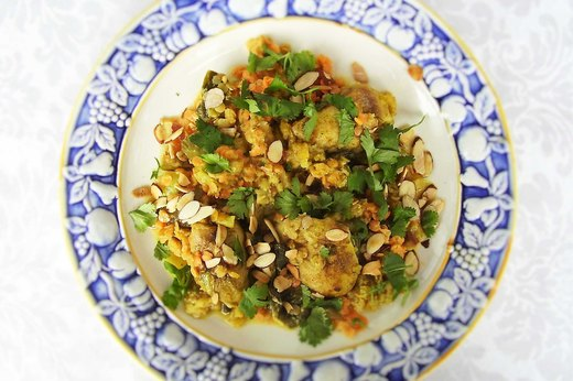 4. Curry Coconut Chicken, Red Lentils and Bok Choy (Family-Style)