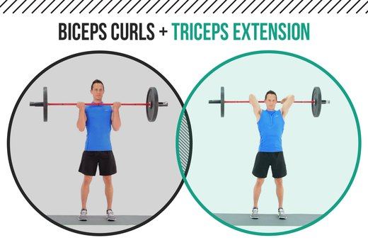 4. Barbell Biceps Curls + Triceps Extension
