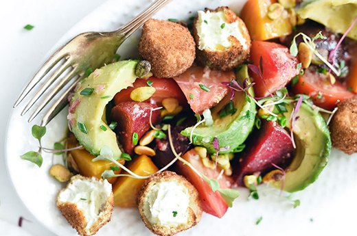 Beet-Avocado Salad With Crispy Goat Cheese Balls