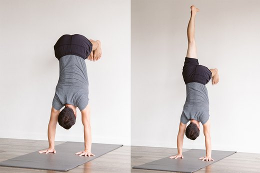 6. Modified Handstand at the Wall (Ardha Adho Mukha Vrksasana)