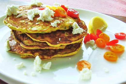 3. Savory Spinach, Tomato and Goat Cheese Pancakes