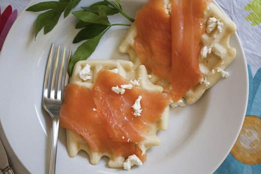 2. Waffles With Feta and Smoked Salmon