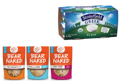 9. Stonyfield Organic Plain Greek Yogurt and Bear Naked Granola