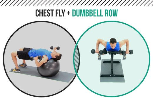 5. Chest Flyes + Supported Dumbbell Row