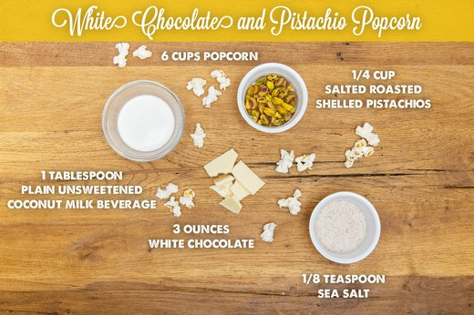3. White Chocolate and Pistachio Popcorn