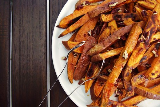 7. Maple-Glazed Sweet Potato Steak Frites With Pecans