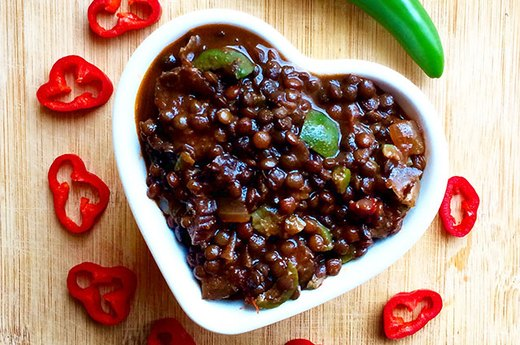Vegan Lentil Chili With Olives and Figs
