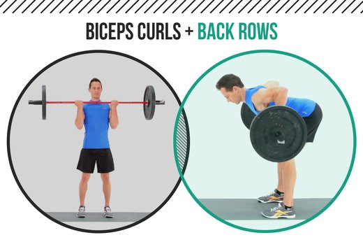 2. Biceps Curls + Back Rows