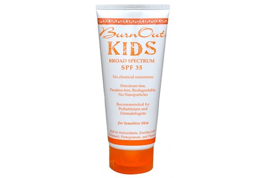 5. BEST KIDS' SPORT SUNSCREEN (Tie for #1): BurnOut Kids Physical Sunscreen, SPF 35