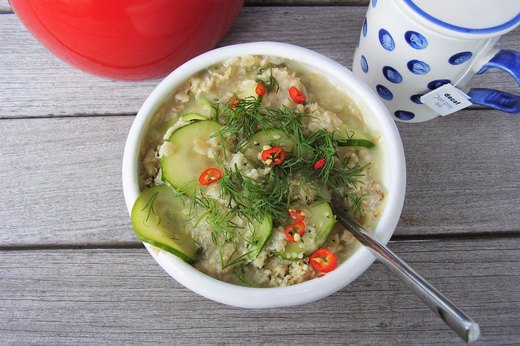 7. SAVORY: Oatmeal With Vegetables, Herbs and Goat Cheese