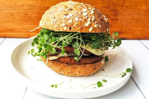 7. Double Vegan Burger With Grilled Onion