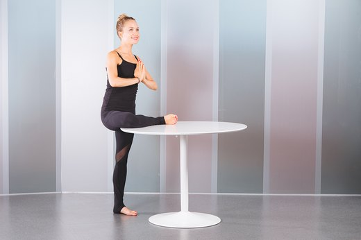 1. Standing Pigeon Pose With Table (Eka Pada Rajakapotasana)