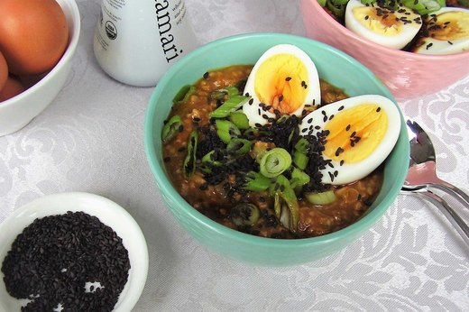 7. Asian-Style Oatmeal With Egg, Scallions and Tamari