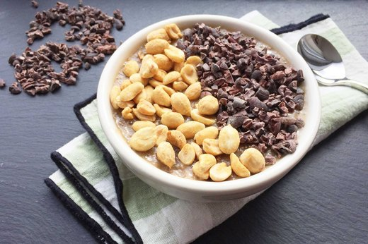 10. Overnight Banana-Chia Breakfast Pudding Bowl With Cacao Nibs and Nuts