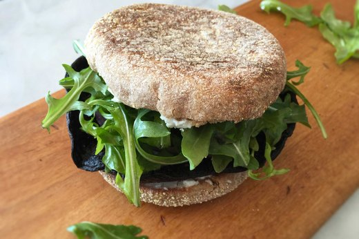 "8. Charred Vegan Portobello ""Steak"" Breakfast Sandwich"