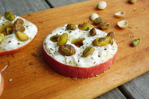 1. Apple Rounds With Goat Cheese and Pistachios