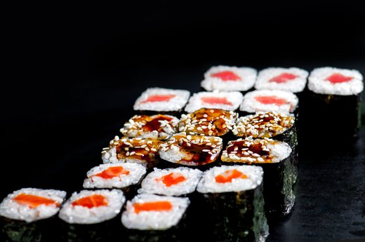 13. Grocery Store Tuna Sushi Rolls and Seafood Trays