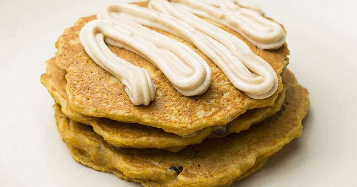 These Carrot Cake Pancakes With Coconut-Cream Cheese Frosting Are the Coziest Breakfast