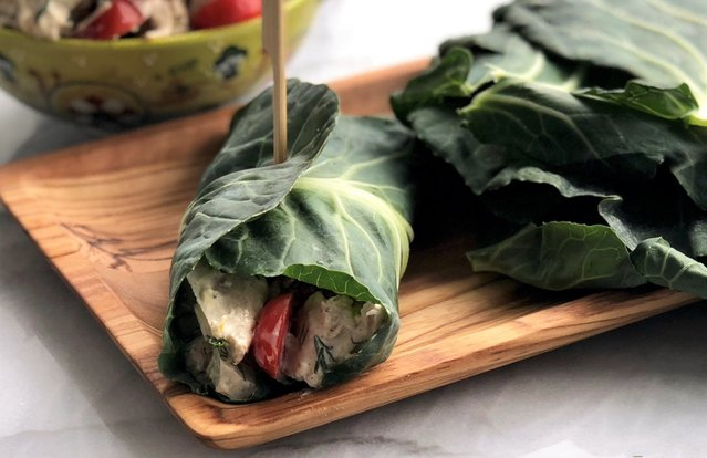 Tangy Tuna Salad in Collard Wrap