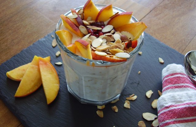 Overnight Peach Melba Oatmeal
