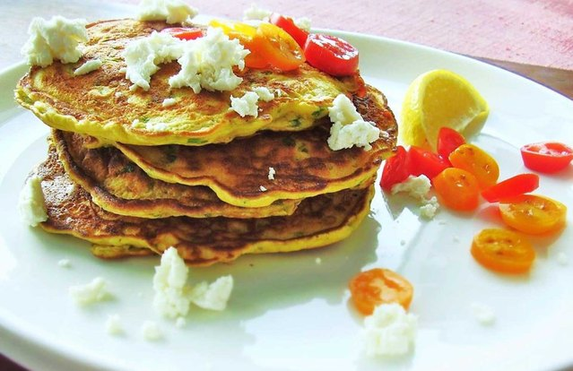 Savory Spinach, Tomato and Goat Cheese Pancakes