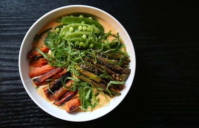 Roasted Carrot Yogurt Bowl with Spring Vegetables