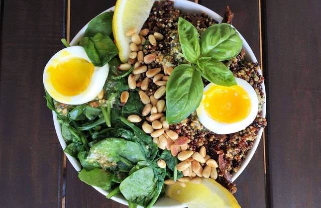 Pesto, Quinoa and Soft-Boiled Egg Breakfast Superfood Bowl