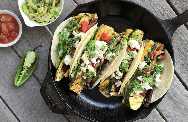 Grilled Farmers Market Veggie Tacos with Guacamole