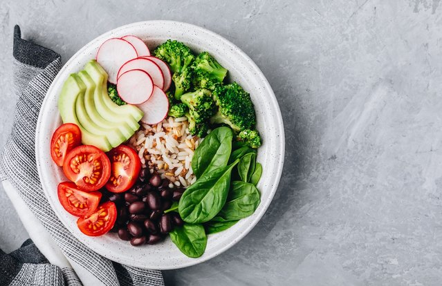 Bean and Farro Buddha Bowl with Cilantro-Apple Dressing