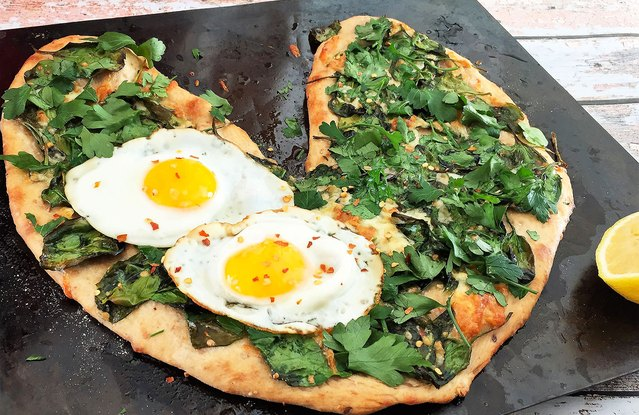 Heart-Shaped Florentine Pizza With Eggs