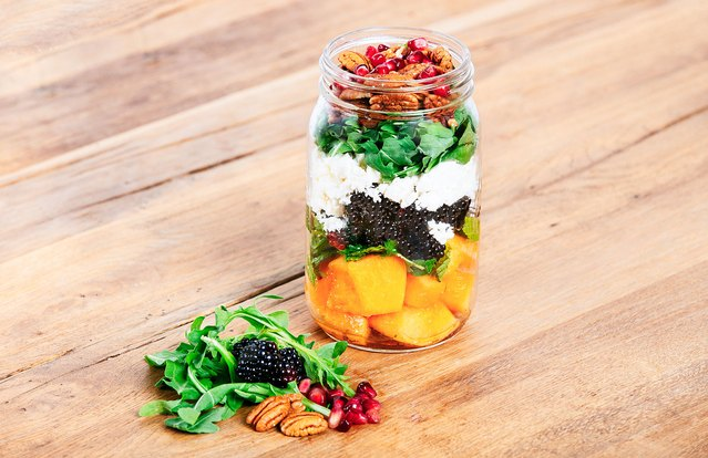 Cantaloupe and Blackberry Mason Jar Salad