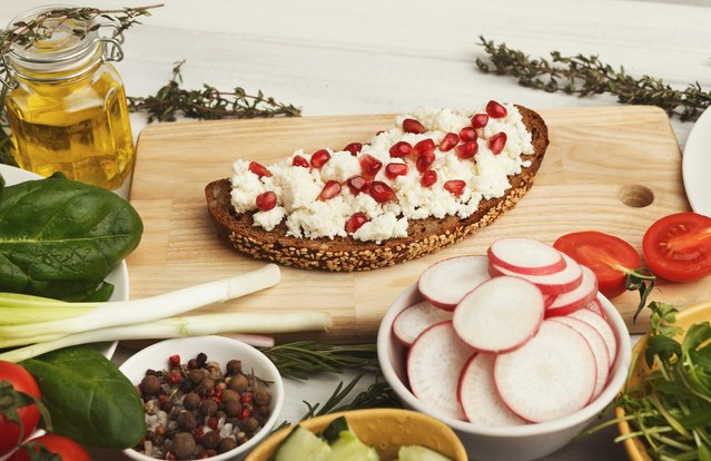 Ricotta and Pomegranate Bruschetta