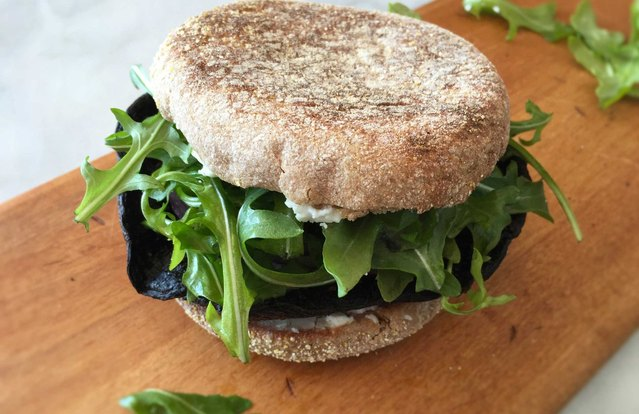 "Charred Vegan Portobello ""Steak"" Breakfast Sandwich"