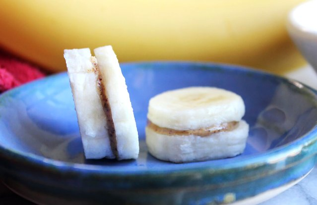 Mini Banana-Almond Butter Sandwiches