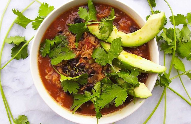 Mexican Black Bean and Avocado Oatmeal