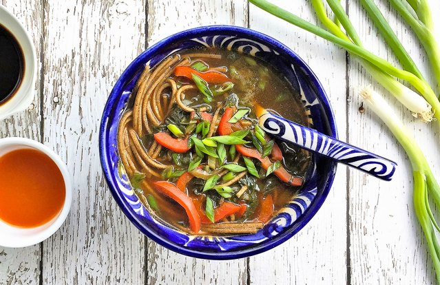 Healthy Asian Veggie and Soba Noodle Soup