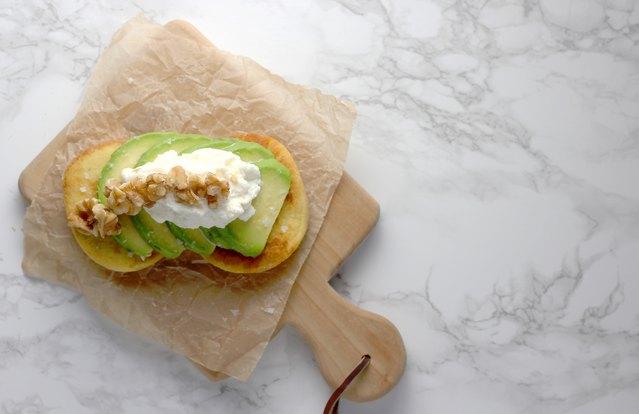 Walnut Ricotta Avocado Toast on Almond Bread Recipe