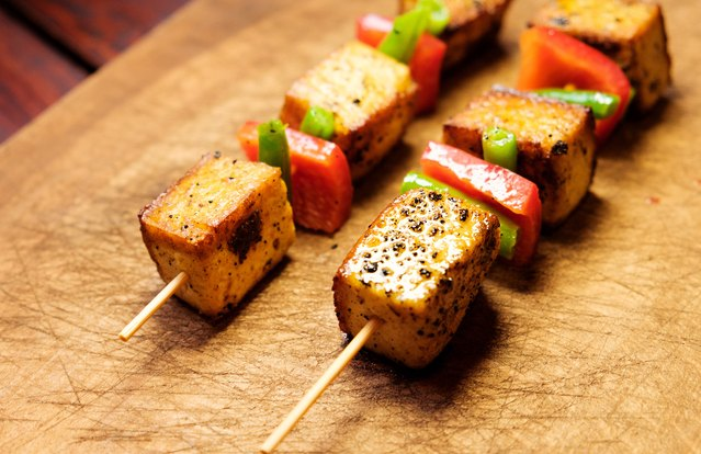 Lemony Charred Greek Tofu Kebabs on Couscous