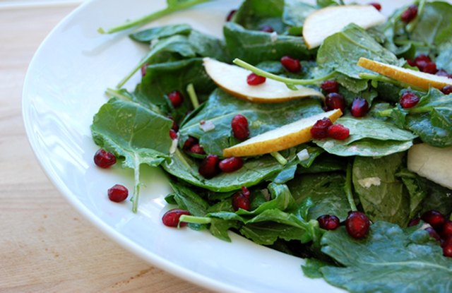 Kale Salad with Pomegranates and Honey Yogurt Dressing