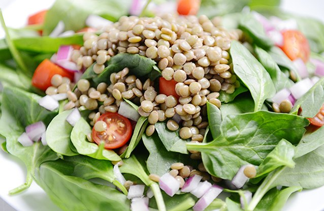 Lentil and Cherry Tomato Spinach Salad
