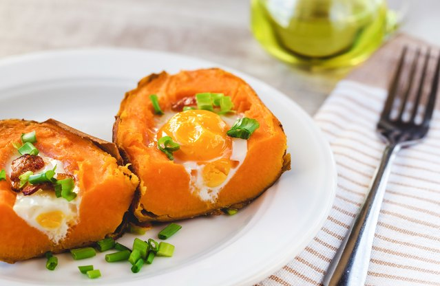 Twice Baked Sweet Potato and Egg Recipe