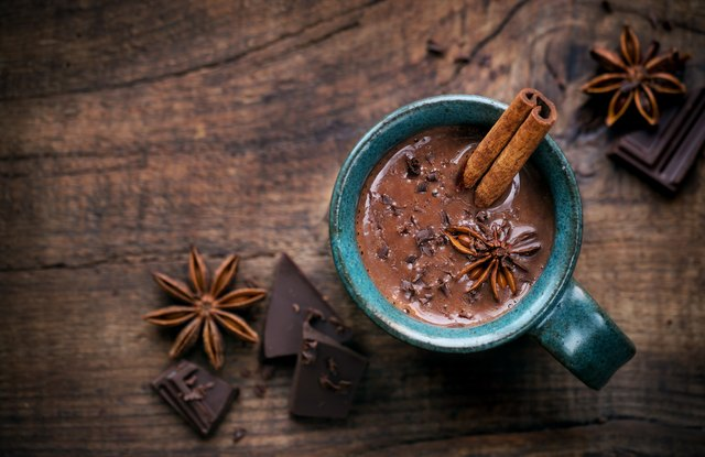 Hot Chocolate with Cinnamon Sticks