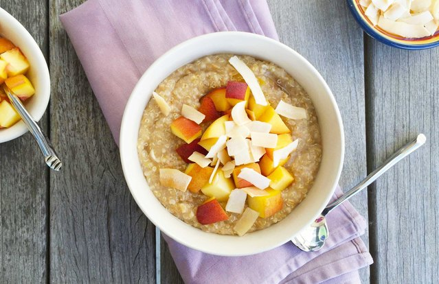 Peaches and Creamy Coconut Quinoa Oatmeal Bowl