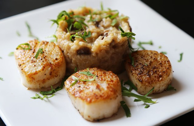 Skinny Risotto and Scallops