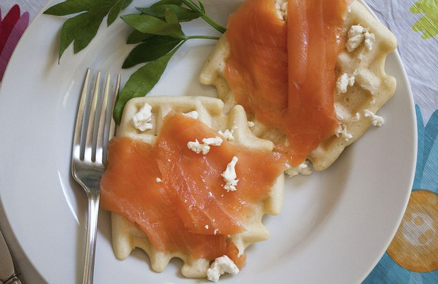 Waffles With Feta and Smoked Salmon